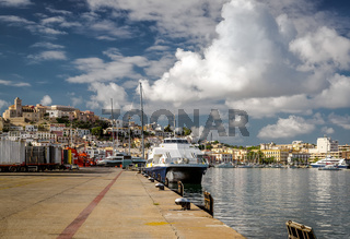 Moored vessels in the port of Ibiza, Balearic Islands. Spain