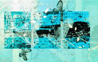 High detailed grunge abstract floral  background - collage