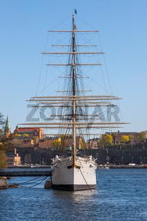 Stockholm, Sweden - April 30, 2011: Sailing vessel quot;Af Chapmanquot; (constructed in 1888) on Skeppsholmen