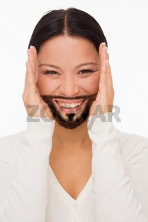 Bearded deaf woman with closed ears