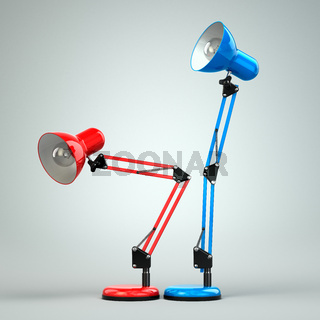Vintage adjustable desk lamps simulate sex.