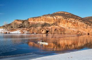 winter canoeing in Colorado