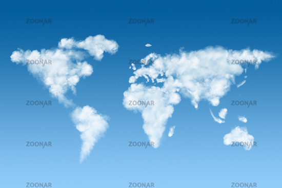 world map made of white clouds on sky