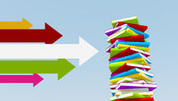 Multicolored arrows pointing towards stack of books