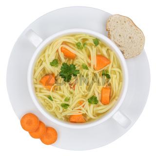 Nudelsuppe Suppe Brühe in Suppenschüssel Freisteller von oben