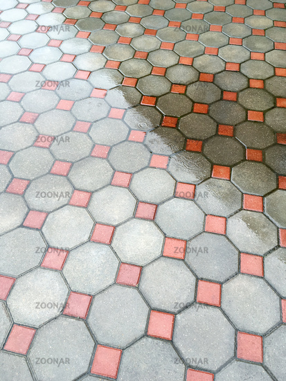 wet urban floor mosaic background