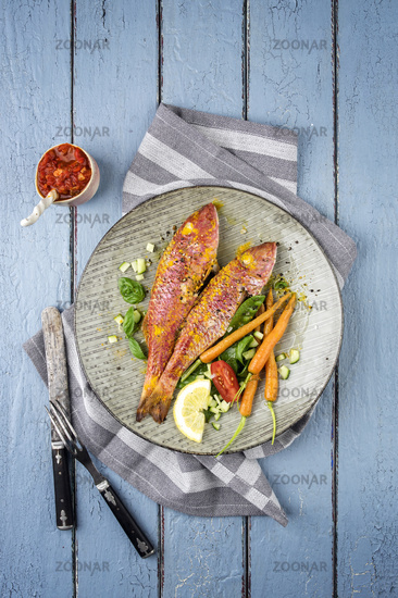 Barbecue Red Mullet on Plate