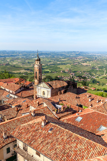 Red roofs of town of La Morra, Italy.