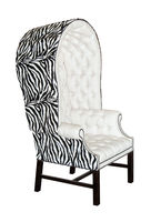 White textile modern chair isolated