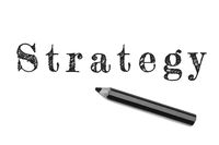 Strategy sketch text written black pencil white background. Concept business startegy