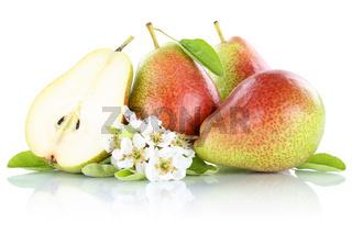Birnen Birne geschnitten frische Früchte Obst Freisteller freigestellt isoliert