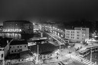Piazzale Roma and Ponte della Costituzione at night, Venice, Italy, Europe