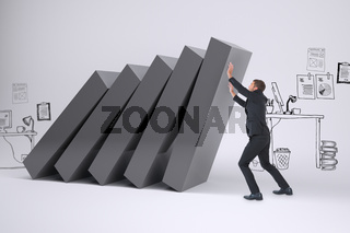 Composite image of businessman with his hands up