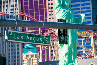 Las Vegas street sign on summer day