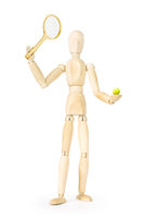 Tennis player isolated over white background. Abstract image with a wooden puppet