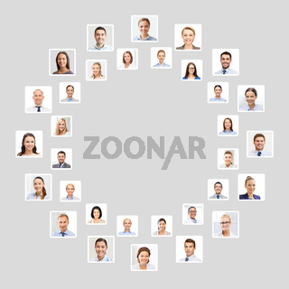 many business people portraits in circle