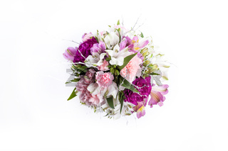 Bouquet from pink and purple gillyflowers on white