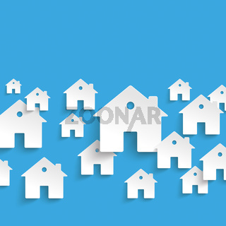 White Paper Houses Blue Background PiAd