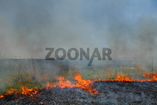 Prescribed prairie burn on the Great Plains in Nebraska