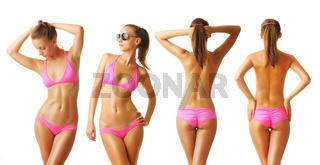 Sexy tan woman in bikini collection