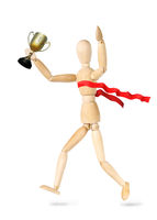 Sportsman winner of championship isolated over white background. Abstract image with a wooden puppet