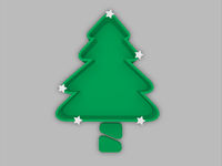 Christmas tree tray with trunk and white stars, festival concept