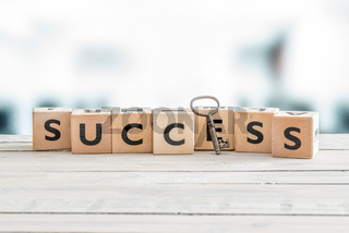 The word success with a key