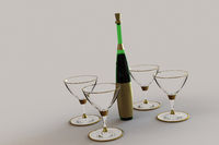 Martini glasses and bottle.