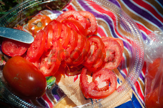 Slices of Tomatoes in a Transparent Bowl during picnic