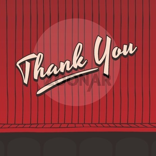 thank you live stage red curtain