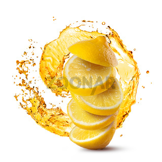 Falling slices of lemon against juice splash isolated on white