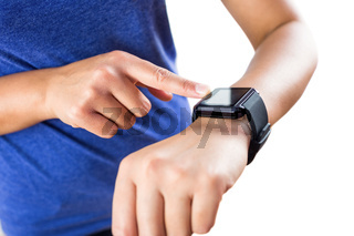 Woman using her new smartwatch