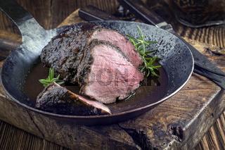 Roasted Boar Neck in Frying Pan
