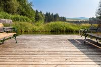 Holzsteg an einem Teich