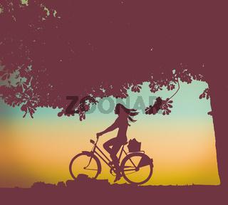 Retro Sunset Cyclist