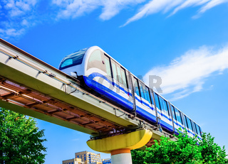 Electric monorail train modern public transport