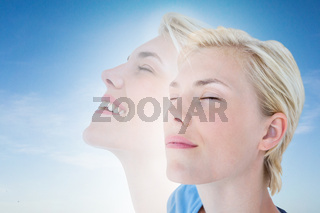 Composite image of woman meditating
