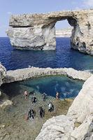 Azur Windwow oder Azurblaues Fenster, Gozo, Malta