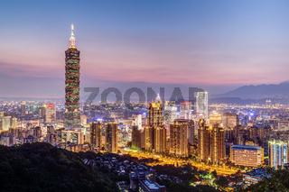 Taipei 101 or Taipei WTC tower in Taipei Taiwan at sunset