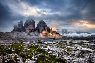 Tre Cime at cloudy sunset