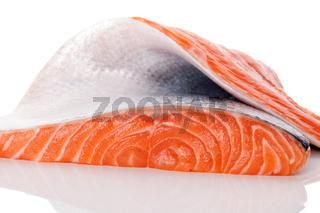 Raw salmon piece.
