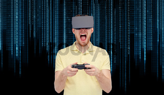 angry man in virtual reality headset with gamepad