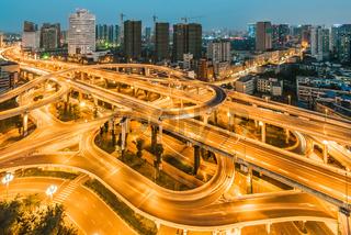 Chengdu interchange at night