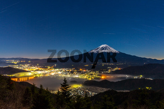 aerial Mount Fuji night