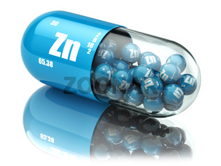 Pills with zinc Zn element Dietary supplements. Vitamin capsules.