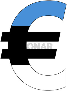 euro with flag of estonia