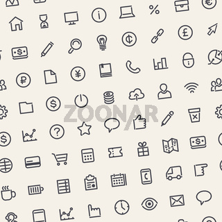 Light Seamless Business Background with Line Icons