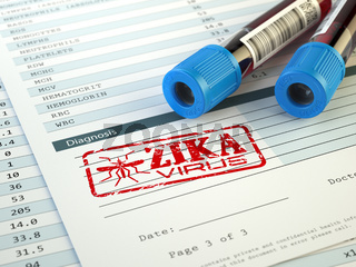 Zika virus diagnosis. Blood test sample with  Zika virus stamp,