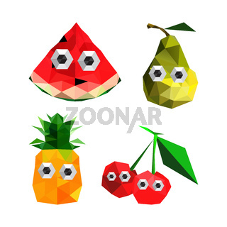 Illustration of funny origami fruits with cartoon eyes