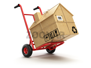 Delivery or moving houseconcept. Hand truck with cardboard box as home isolated on white.